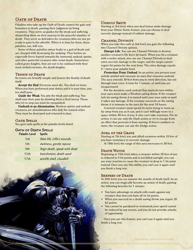 Apocalypse Oaths for the Paladin in 2020 | Paladin, Dungeons and dragons game, Dungeons and ...