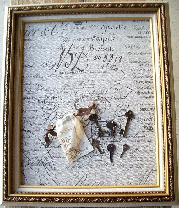 Ornate Gold Hanging Framed Magnetic Memo Board Or Chalkboard French  Document Script Fabric Word