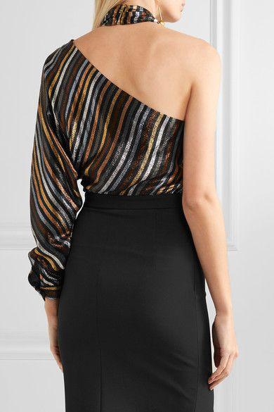 Haney Woman Victoria Metallic Striped Silk-blend Lamé And Crepe Dress Black Size 4 Haney Cheap Sale Discounts Manchester Great Sale For Sale 8vXdDKln7