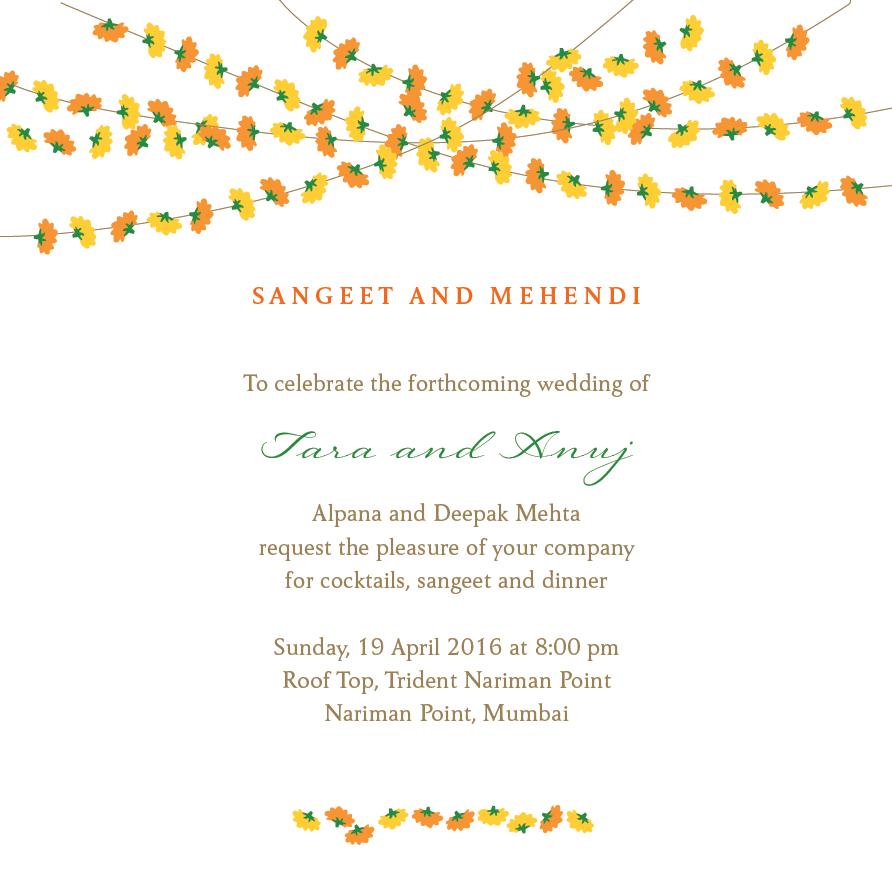 Mehendi Amp Sangeet Invitations Marigold Strings Sangeet