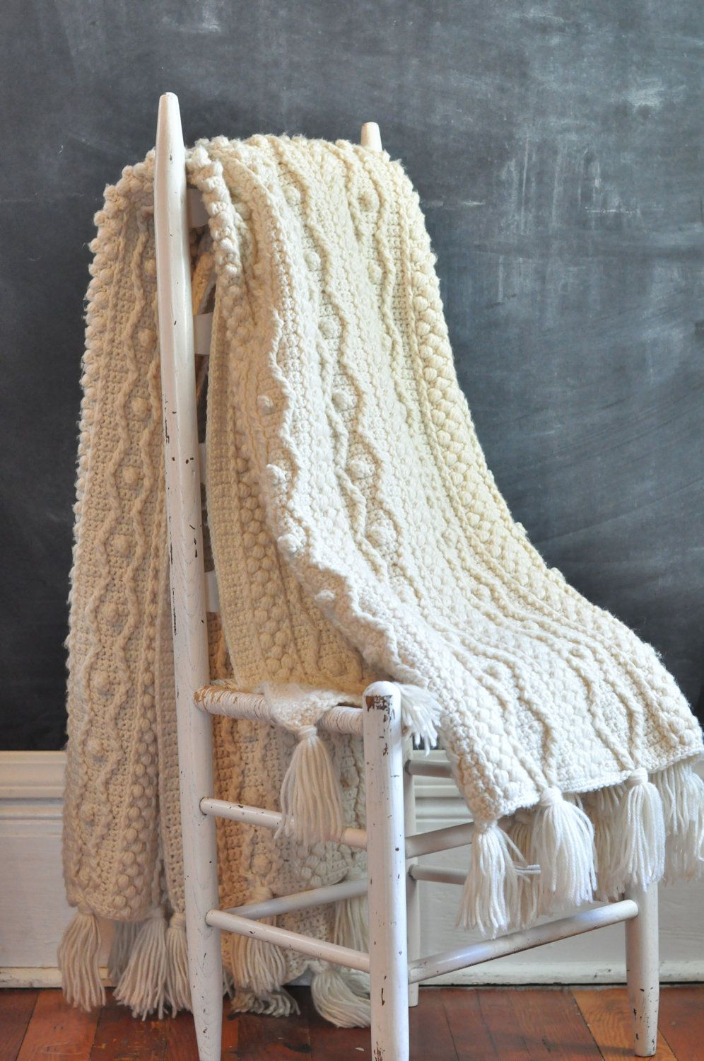 Vintage Aran Heavy Off White Afghan Blanket Rug Crochet Cable Knit ...