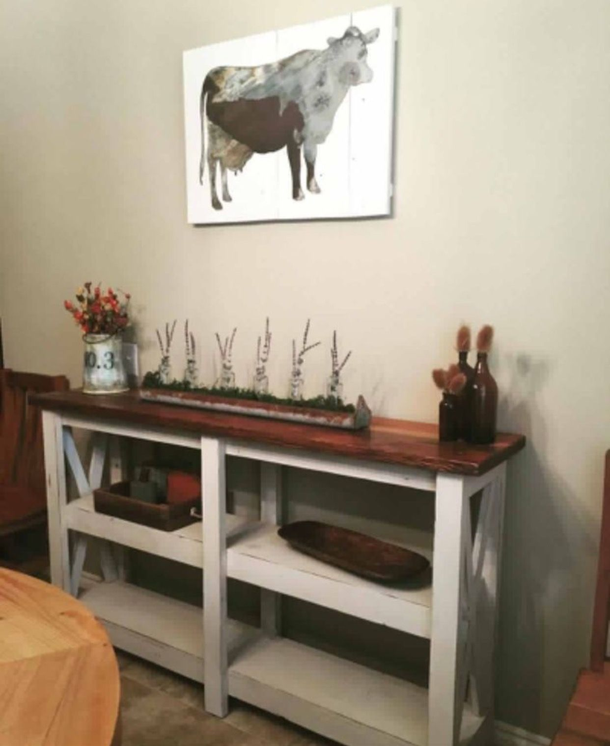 White #farmhouse style console table handcrafted by L ...
