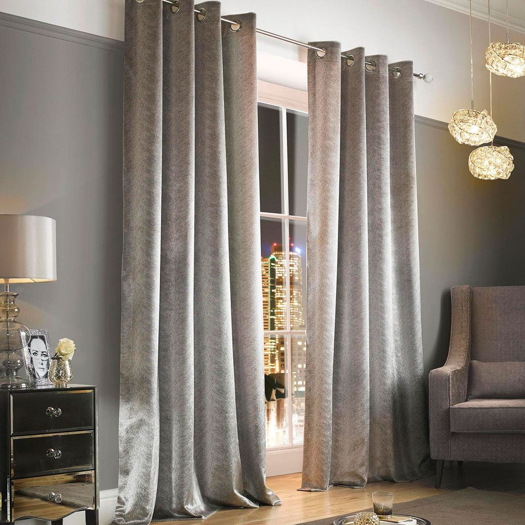 Kylie Minogue Adelphi Curtains Silver Pasx Lined