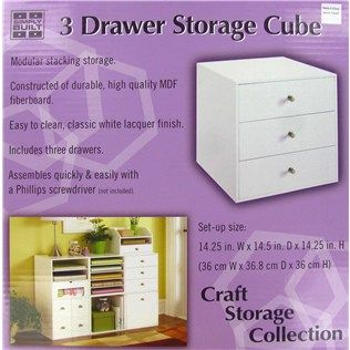 Jetmax White 3 Drawer Storage Cube