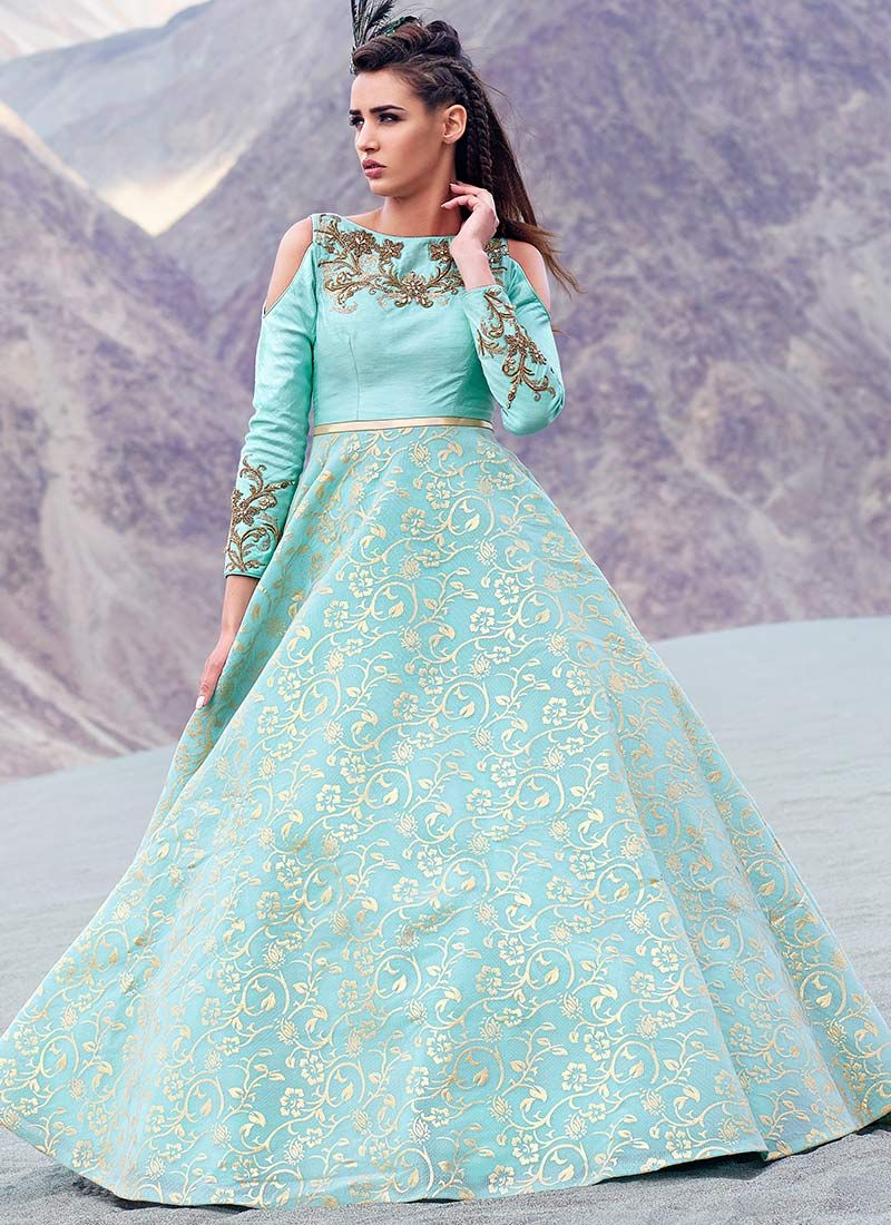 Designer Wedding Wear Hand Work Gown... | Wedding Wear Anarkali Type ...