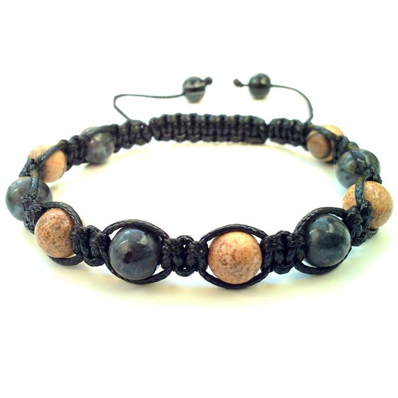 Mens Beaded Bracelet stone wood beads stretch wristband bangle cuff jewelry men
