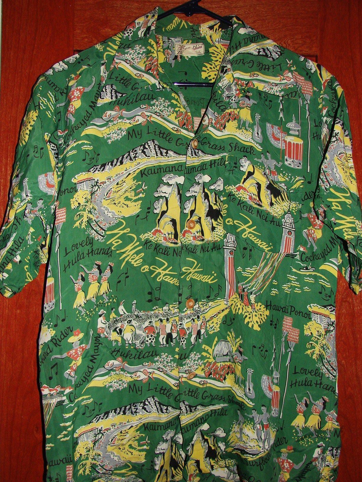 641b55dc Malihini - 40s Lovely Hula Hands Rayon Vintage Aloha Shirt - TheHanaShirtCo