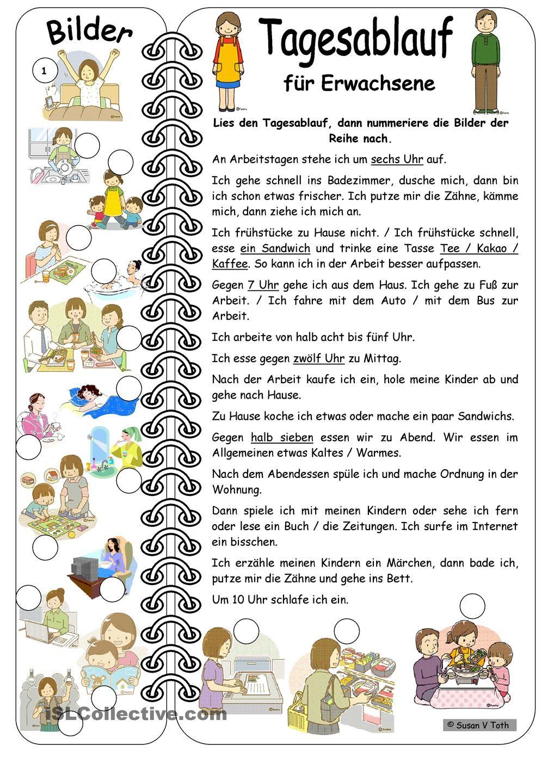 Tagesablauf für Erwachsene mit Bildern * mit Lösung   deutsch ...