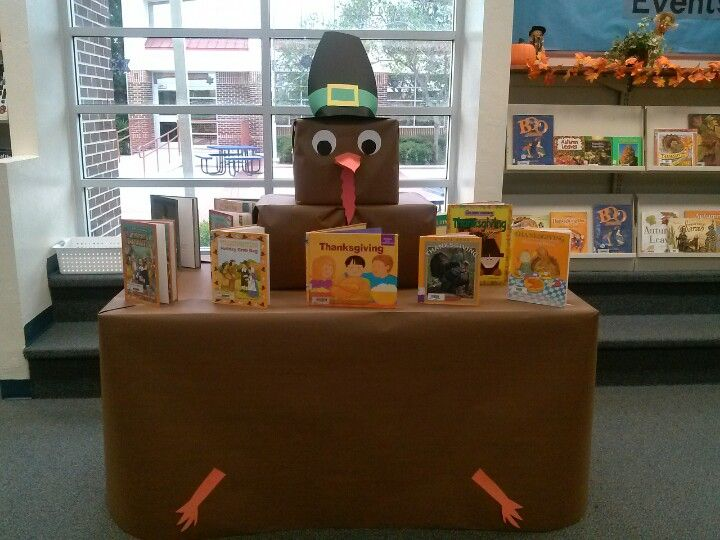 Thanksgiving turkey table in library