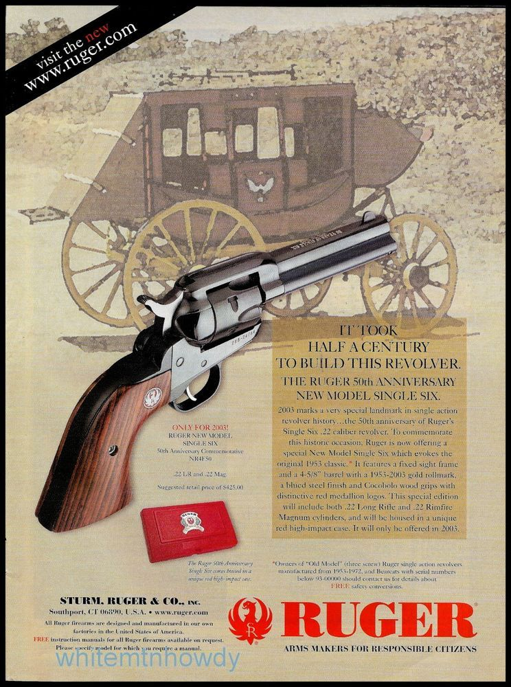2003 RUGER New Model Single-Six Revolver 50th Anniversary Edition AD