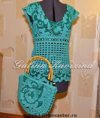 Топ крючком и сумка Бирюза. Авторская работа. Топ  крючком и сумка 'Бирюза '  выполнены  из  мерсеризованного хлопка бирюзового цвета , цвета  камня  влюбленных - бирюзы..Кокетка топа связана в технике ирландского кружева,а сам топ - ажурной сеточкой без боковых швов..#irishlace#crochet#lace#knitting#top