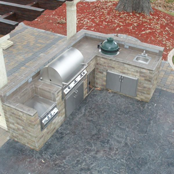 Outdoor Küche Smoker L-shaped Custom Outdoor Kitchen L-01 … | Outdoor Kitchens