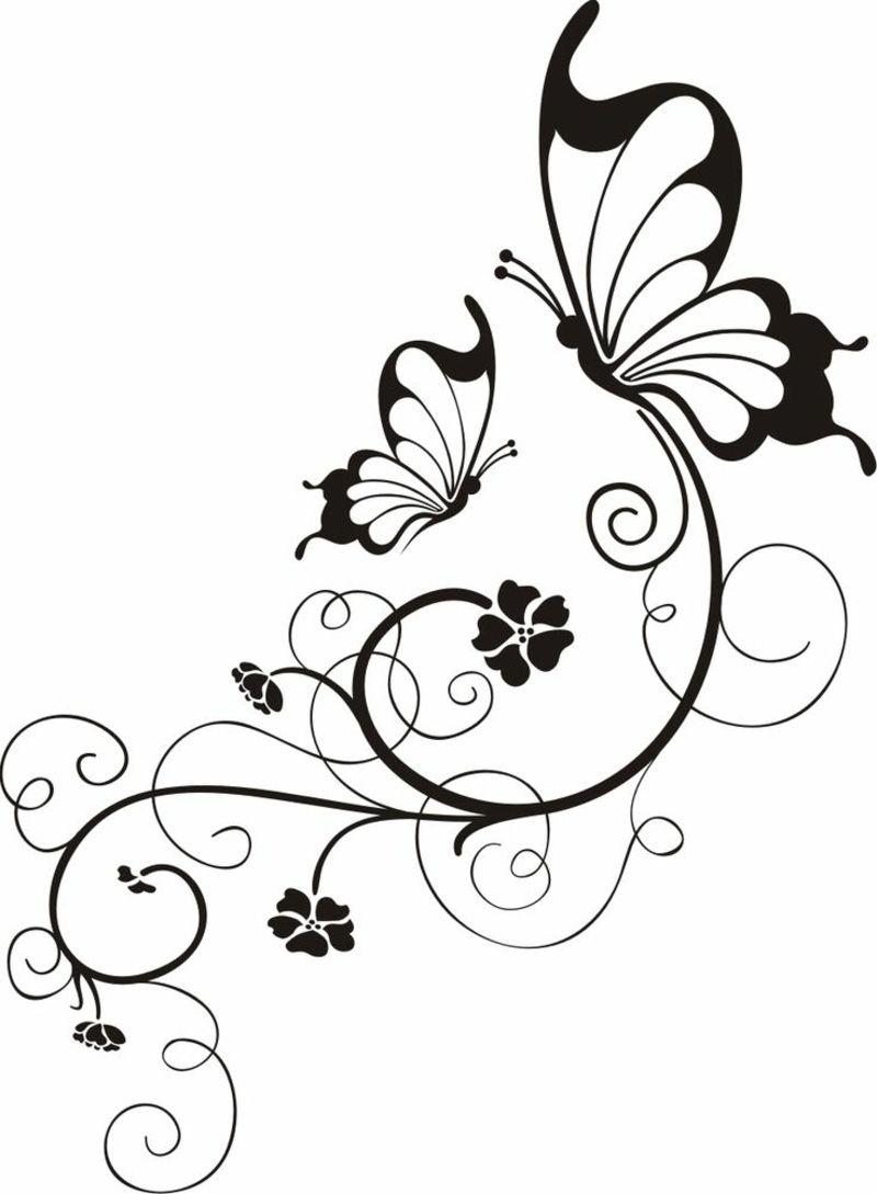 blumenranken tattoo 20 sch ne vorlagen f r diverse k rperstellen schmetterlinge blumenranken. Black Bedroom Furniture Sets. Home Design Ideas