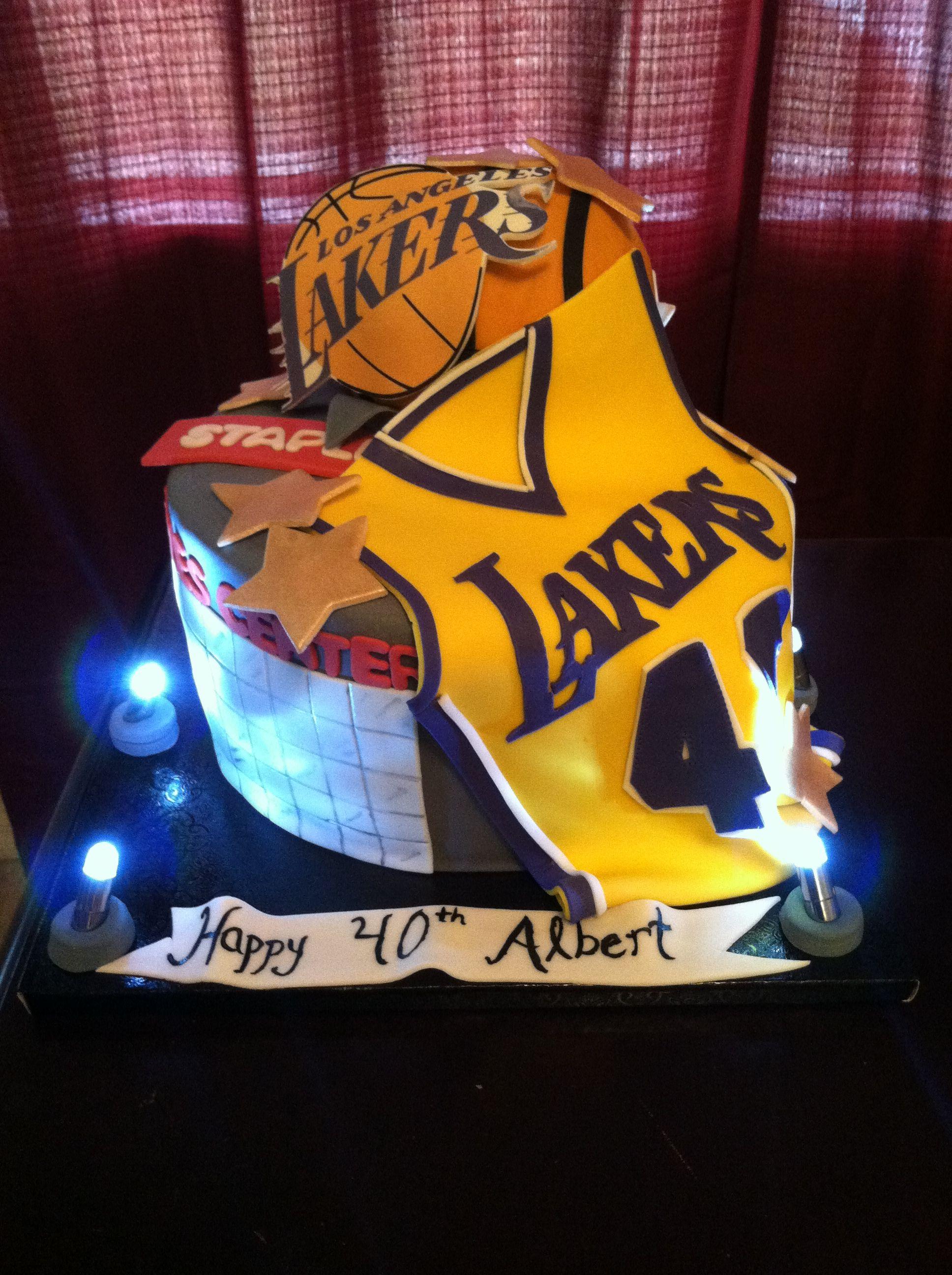 Lakers Cake Sports birthday cakes, Cupcake birthday cake