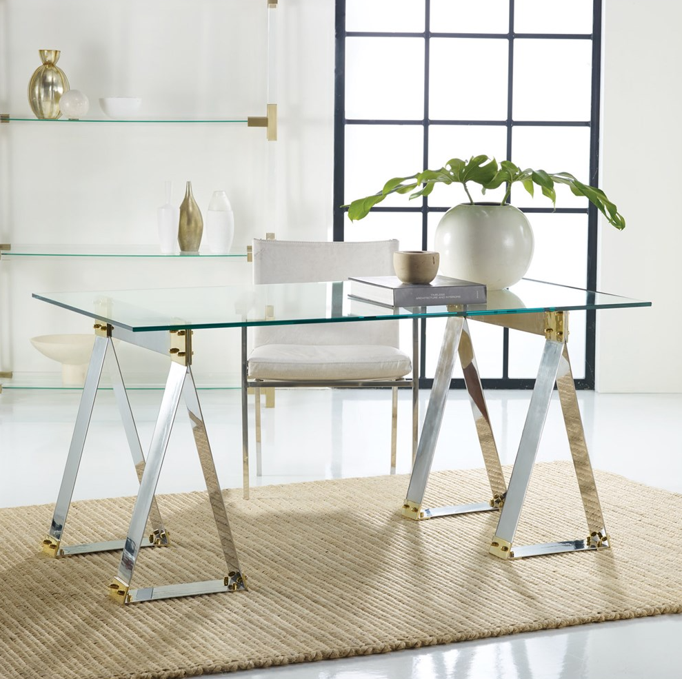 Brendell Metal Desk Home Office Desk, Glass Table, Gold And Silver Desk,  Mixed