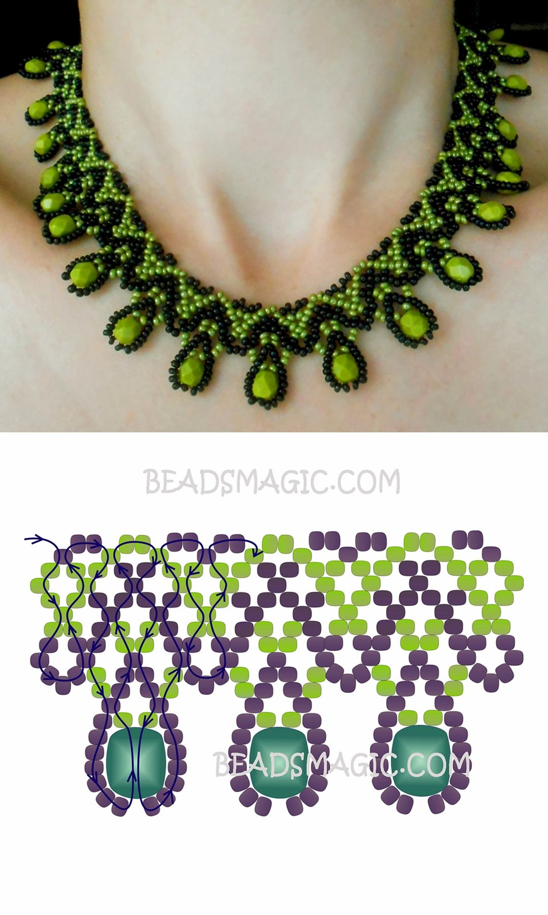 Free pattern for necklace Daniela seed beads 11/0 faceted beads 6 ...