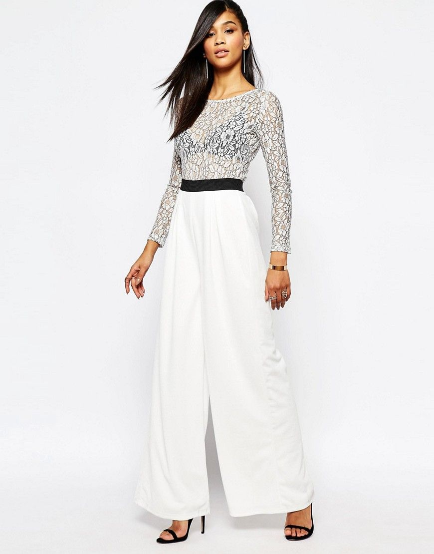De lækreste Rare London Wide Leg Jumpsuit with Lace - White Rare Going Out til Damer i fantastisk kvalitet