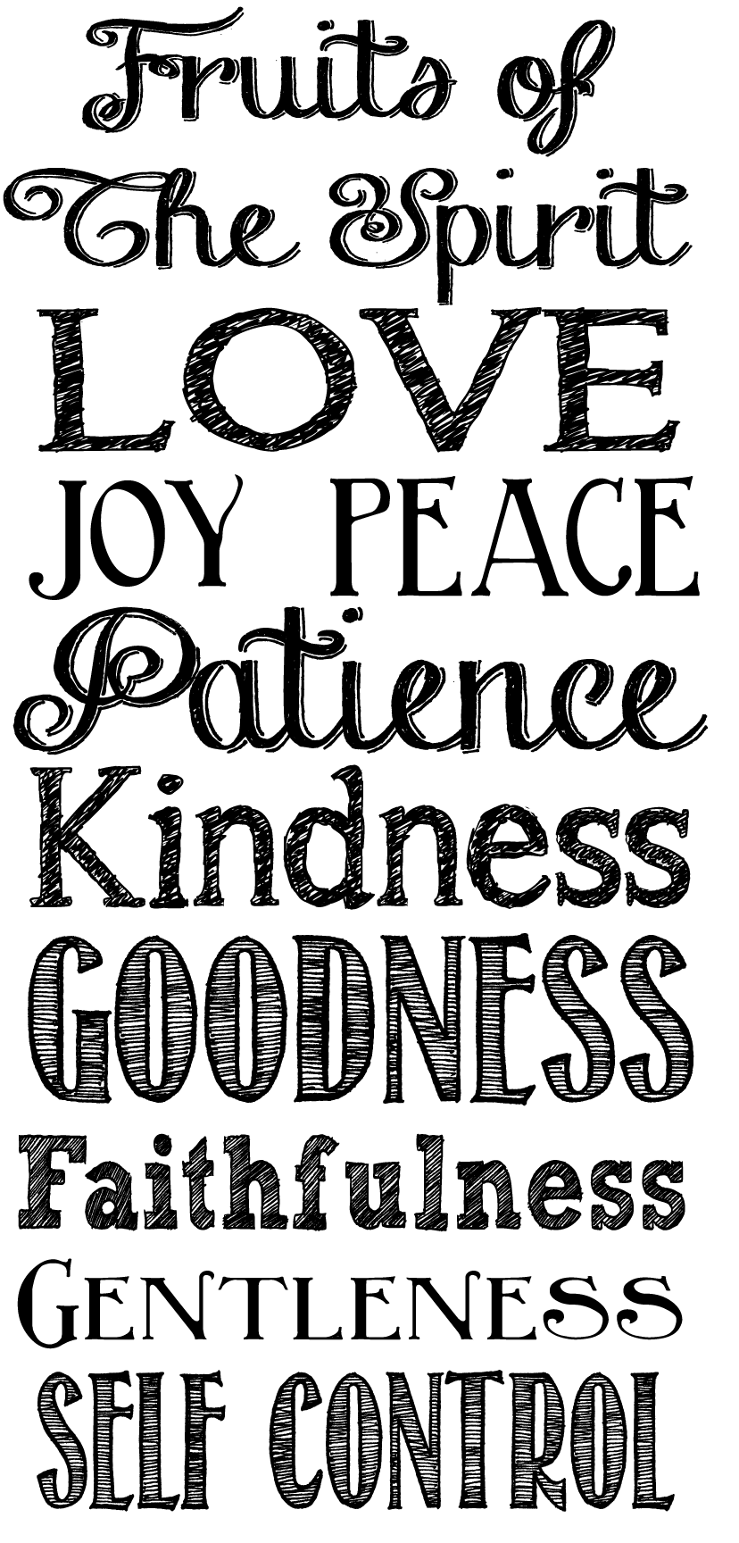 Childrens coloring pages for the fruits of the spirit - Galatians 5 22 Fruit Of The Spirit Printable Png