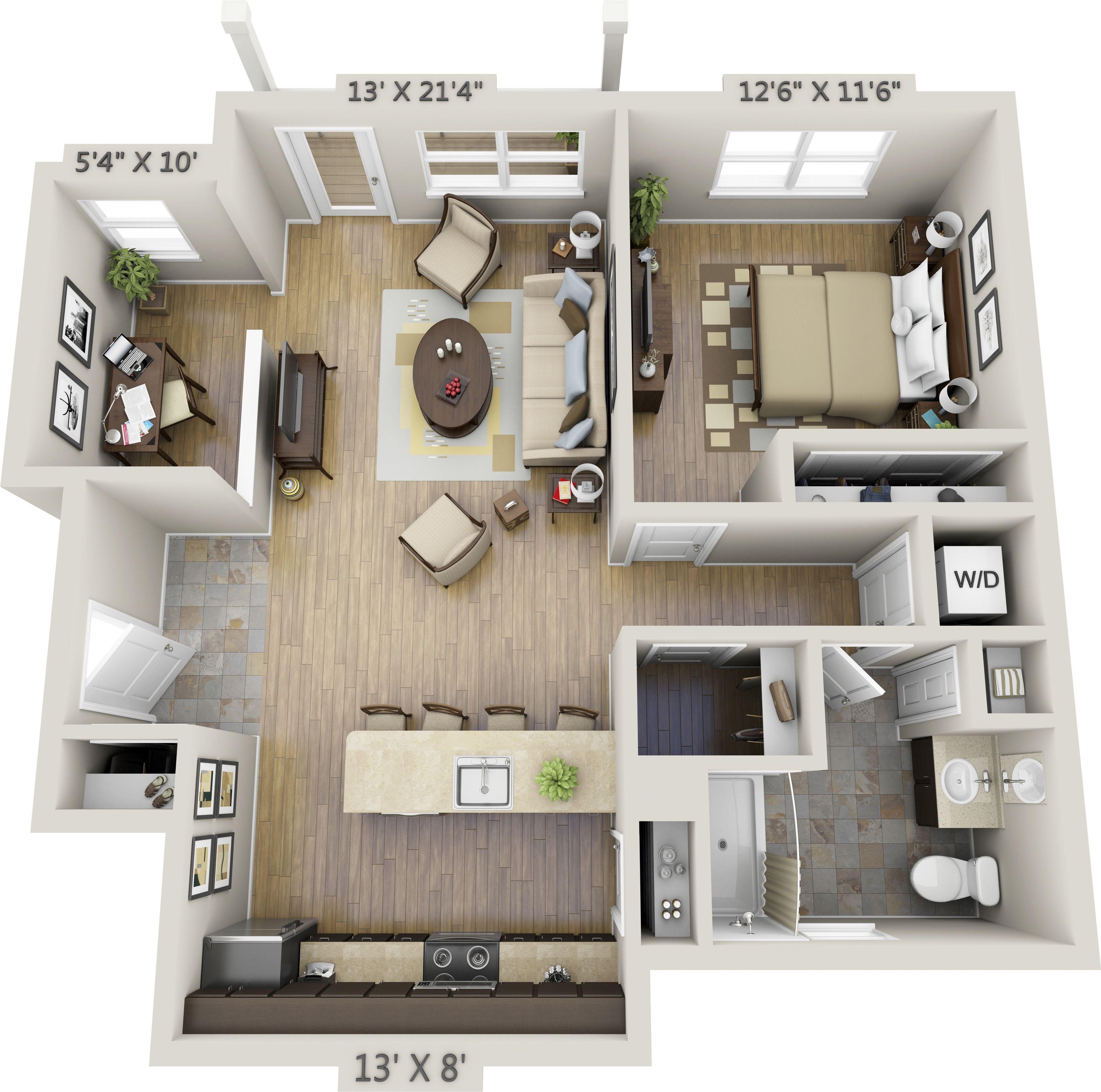 Image result for 1 bedroom 3d floor plan Household