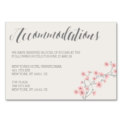 Floral Romantic Pink Wedding Accommodation Cards Wedding Accommodations Wedding Table Number Cards Accommodations Card