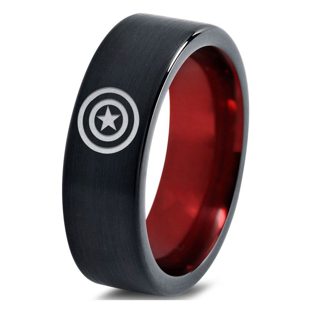 captain america wedding band Captain America Inspired Red Black Tungsten Ring