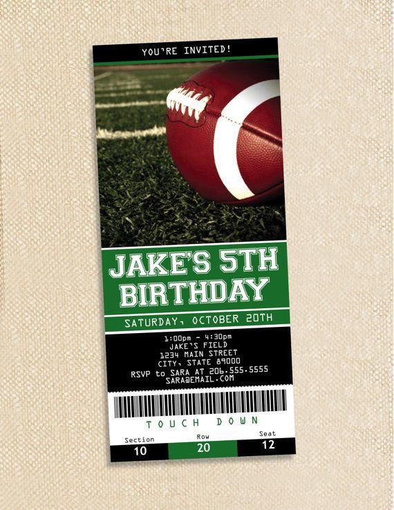 football ticket birthday invitations set of 15 by polkaprints