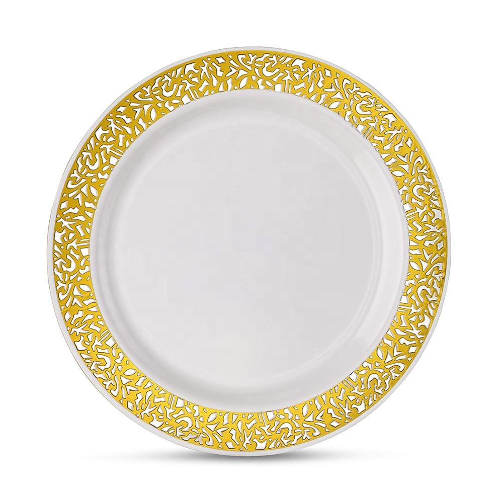 White With Silver Gold Rose Rim Lace Plastic Party Disposable Plate Buy Lace Plastic Plate Rose Gold Plate Plastic Plates Rose Gold Plates Disposable Plates