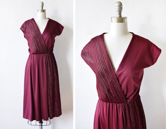 70s disco dress vintage 1970s burgundy wrap by RustBeltThreads