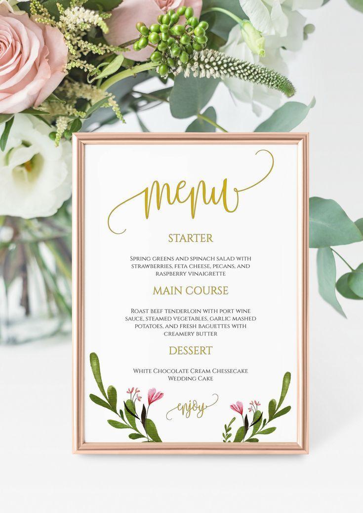 "Wedding Menu Template, Printable Menu Card, 5x7"" Wedding ..."