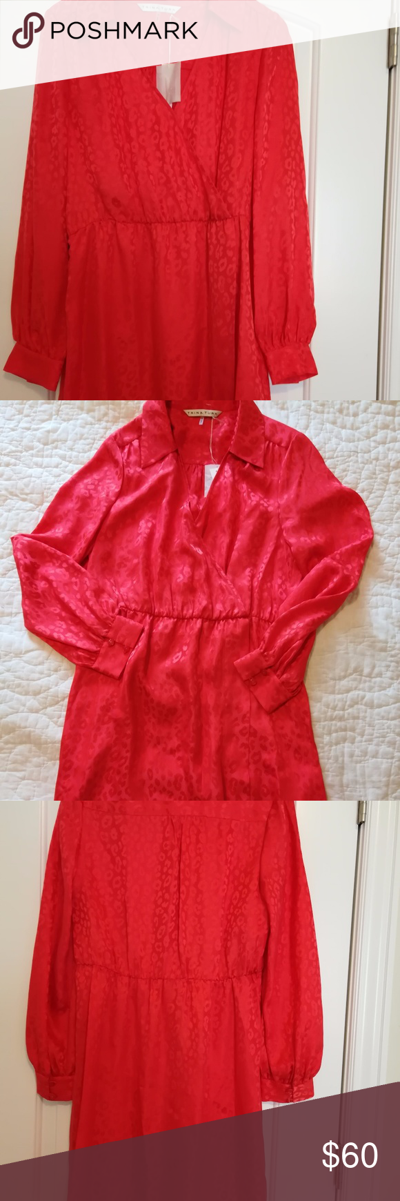 Nwt trina turk size wrap dress red silk trina turk red silk