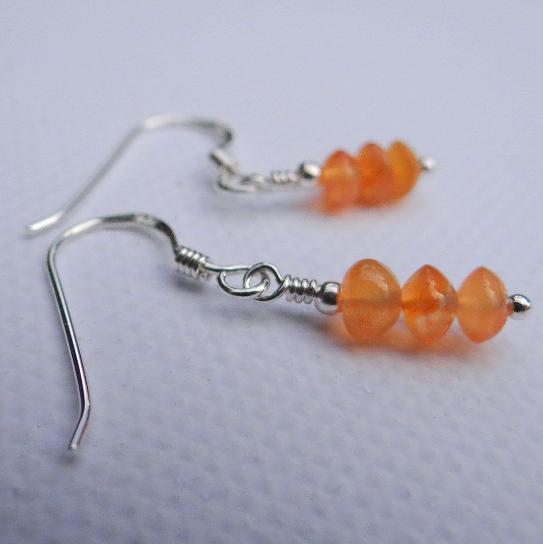 Carnelian Gemstone And Sterling Silver Earrings, Carnelian Dangle Earrings,  Orange Gemstone Earrings, Uk