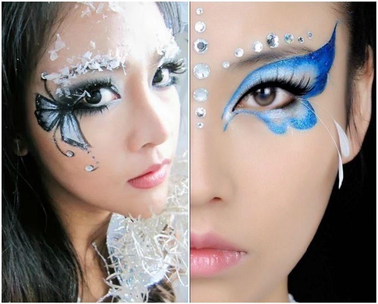 Schmetterling Schminken Damen Augen Blau Schwarz Makeup Fasching