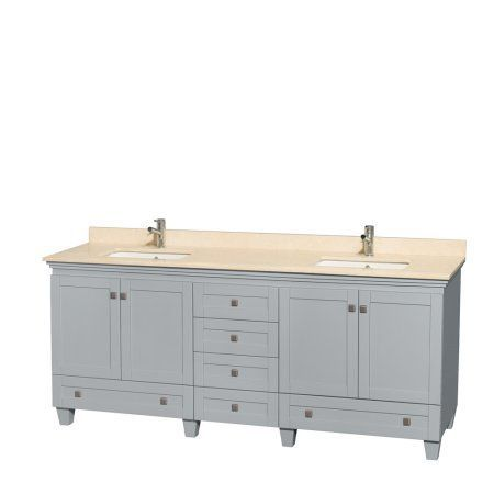 Wyndham Collection Acclaim 80 inch Double Bathroom Vanity in Oyster Gray, Ivory Marble Countertop, Undermount Square Sinks, and No Mirrors, Beige