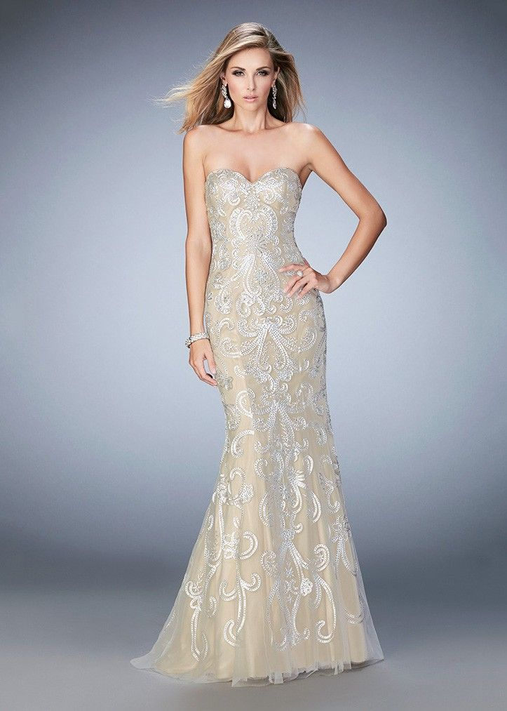 c9faeef1c4080 Gigi 22931 Embroidered Strapless Sweetheart Evening Gown | La Femme ...