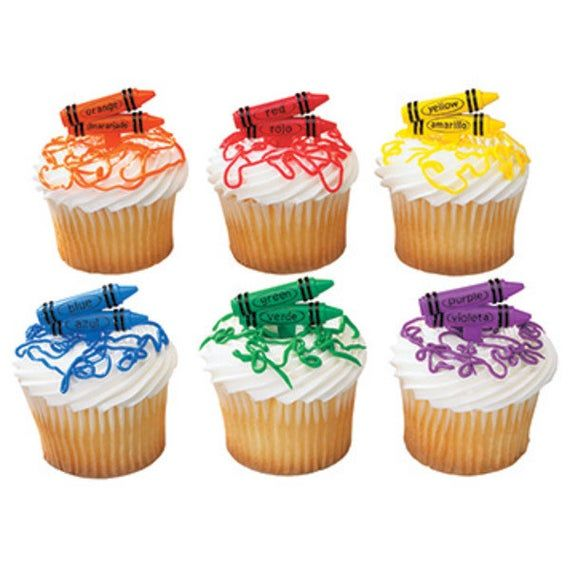 Crayons Bilingual Spanish English cupcake picks (24) favor cake topper 2 doz