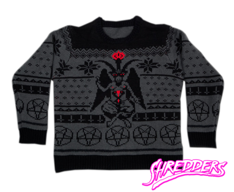 fc7f45e7e9ee2 Satanic Knit Baphomet Sweater Shredder Satan Jumper Christmas Xmas -  Shredders Knit Apparel