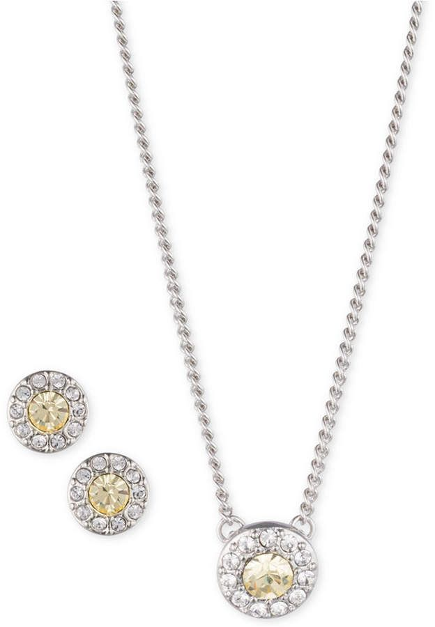 7cc549051ad07 Givenchy Silver-Tone Crystal and Stone 19 Pendant Necklace & Stud ...