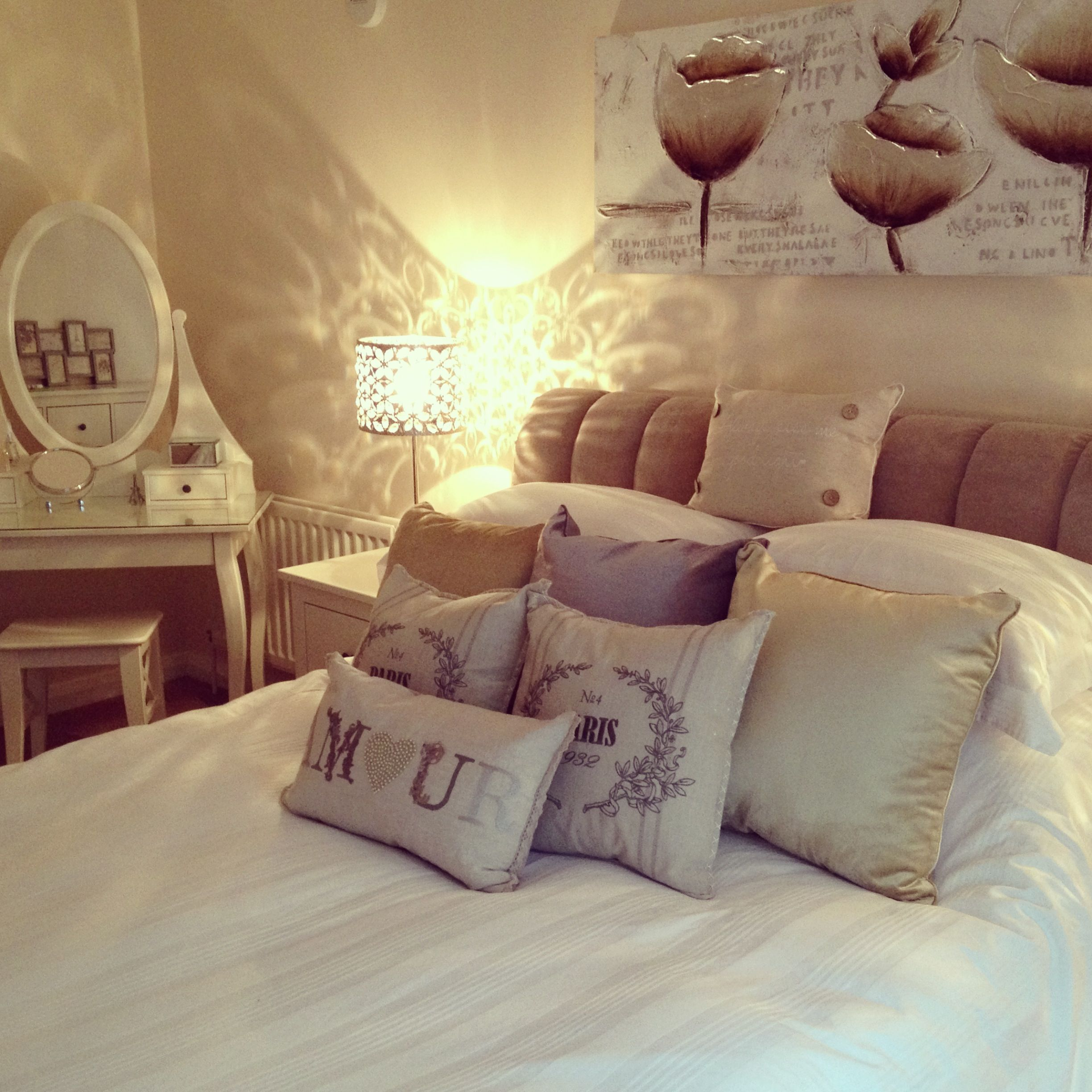 Dream Bedroom Cream Beige Grey Gray Cosy with lots of cushions