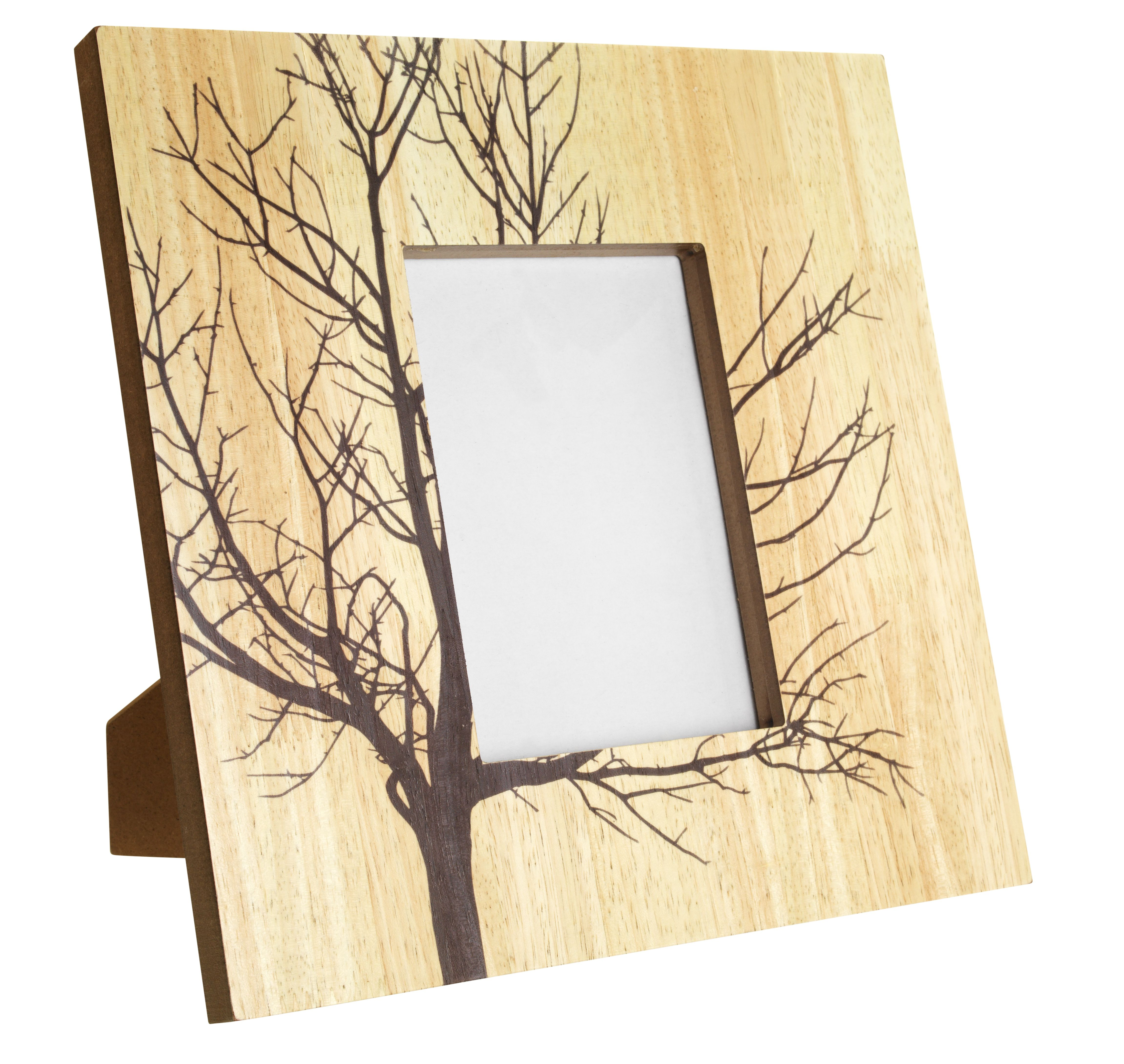 This Wooden Frame With A Tree Branch Design Gives A
