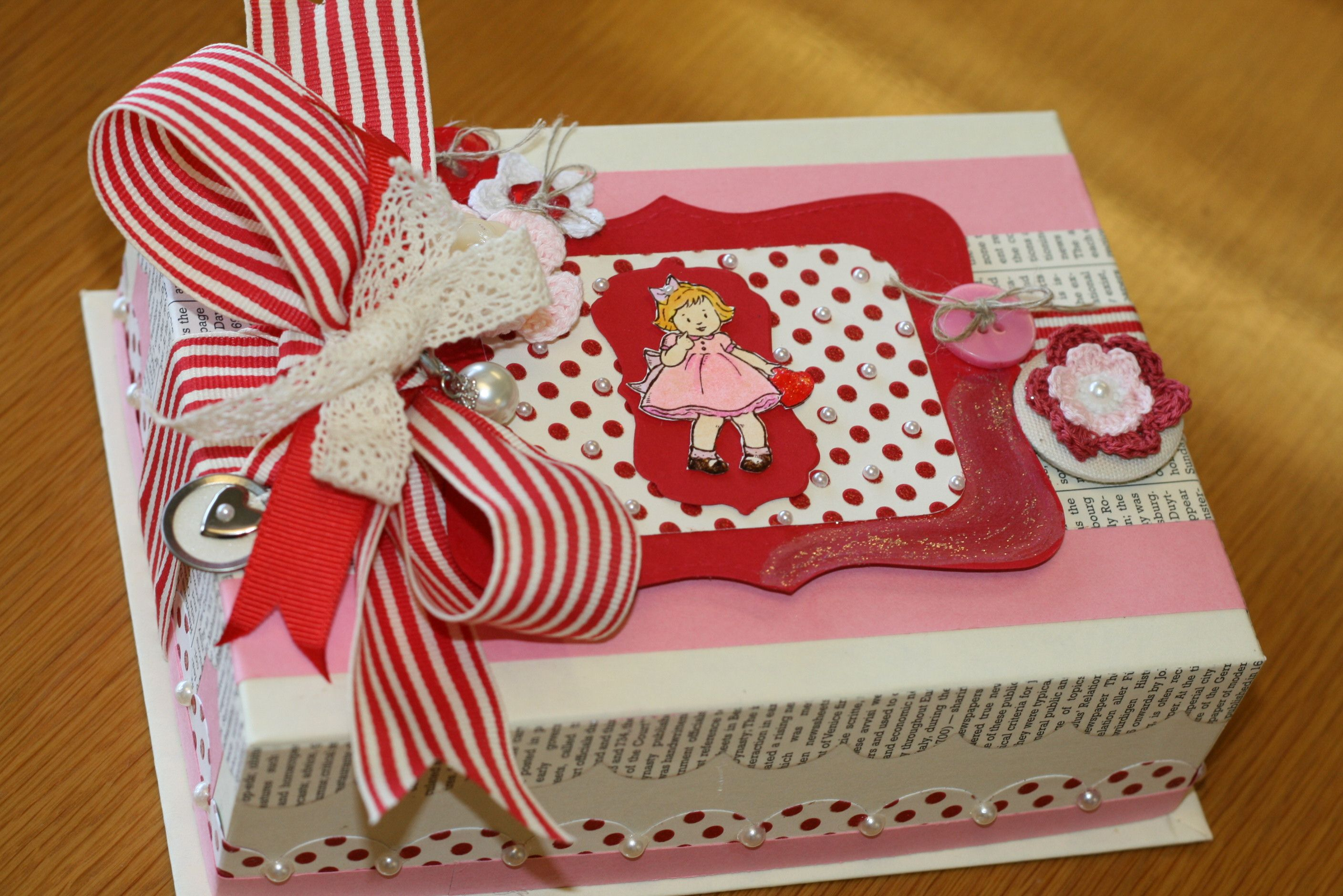 Valentine Decorated Boxes Valentine's Day Boxes Homemade  Vintage Inspired Valentine Box