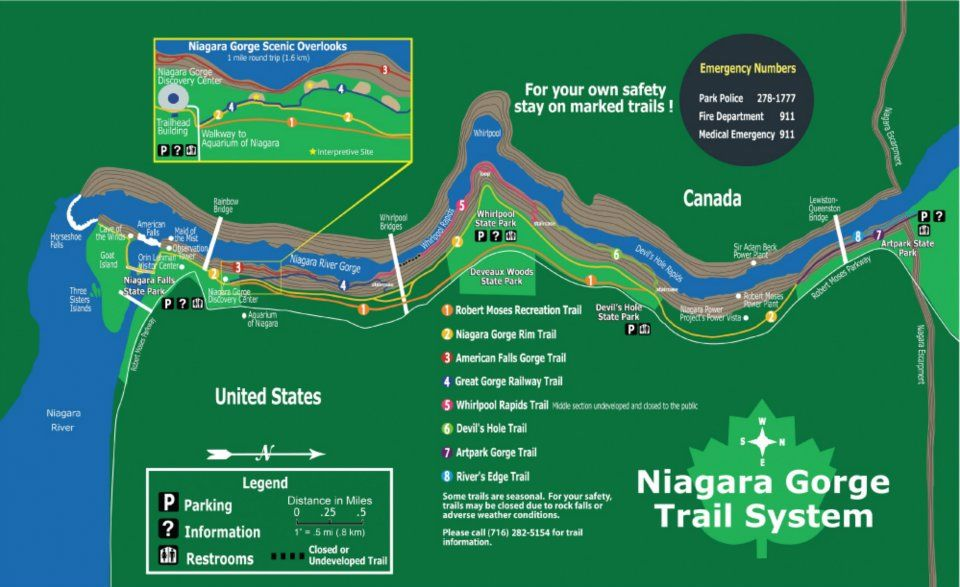 Niagara Gorge Trail Map We Offer Gorge Hikes MidMay October - Us map with niagara falls