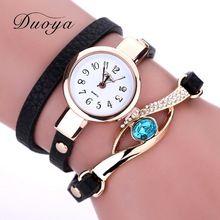 51db3de1a04 Duoya Nova Marca Eye Gemstone Relógios Das Mulheres Pulseira de Ouro Relógio  de Vestido de Luxo Feminino Couro PU Quartzo Eletrônico relógios de Pulso  ...
