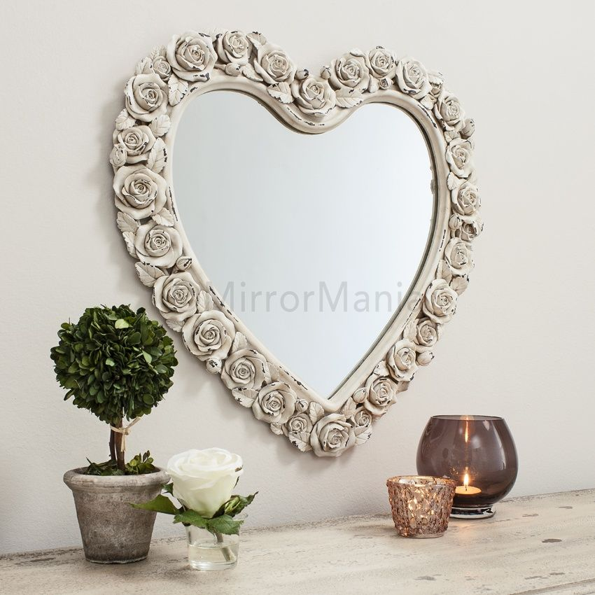 Decorative Vintage Heart Shaped Mirror With A Border Of Budding