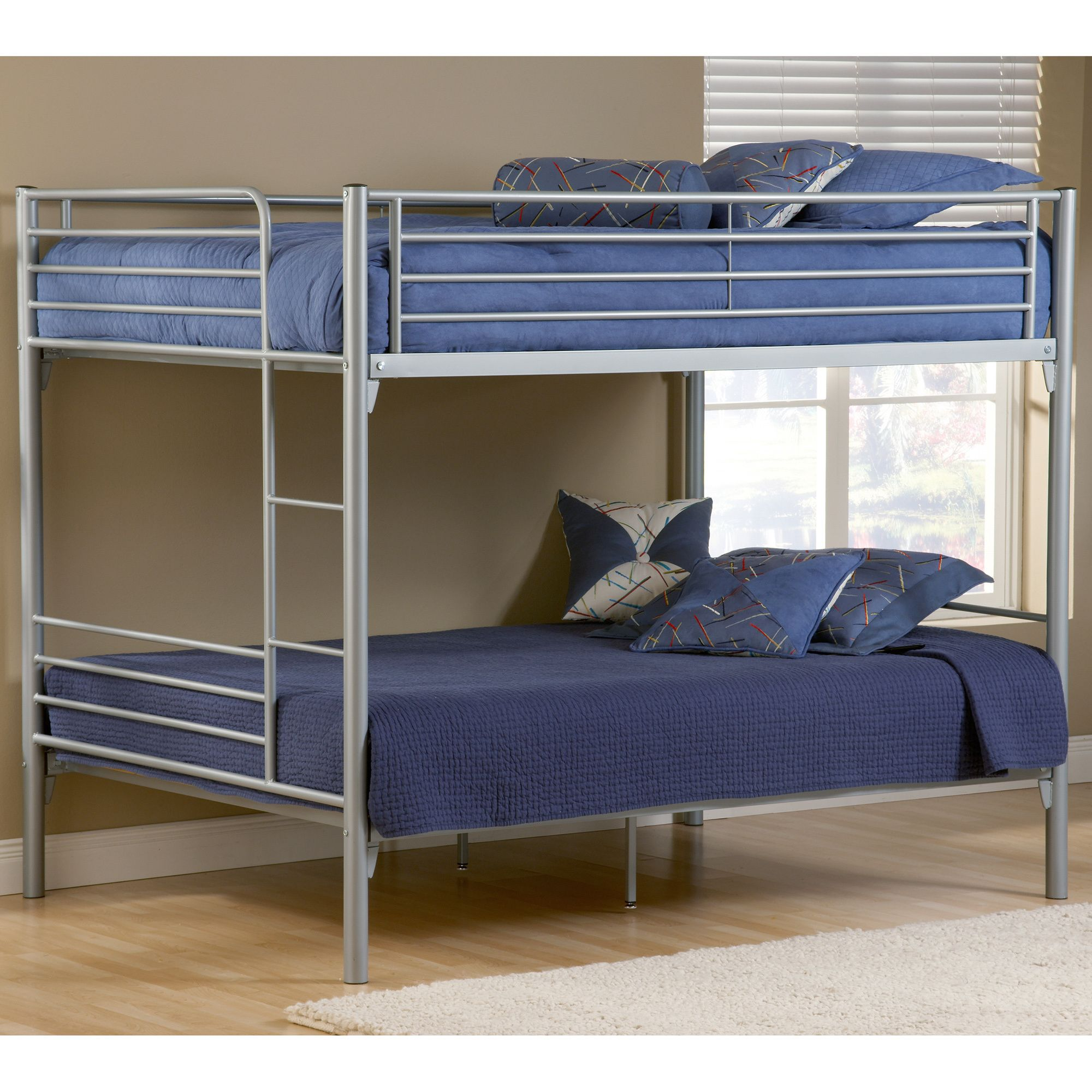 This Brayden bunk bed by Hillsdale has two full-sized beds to provide plenty of room for your child to stretch out at night. The sturdy metal frame has a sleek silver finish to suit most modern decor.