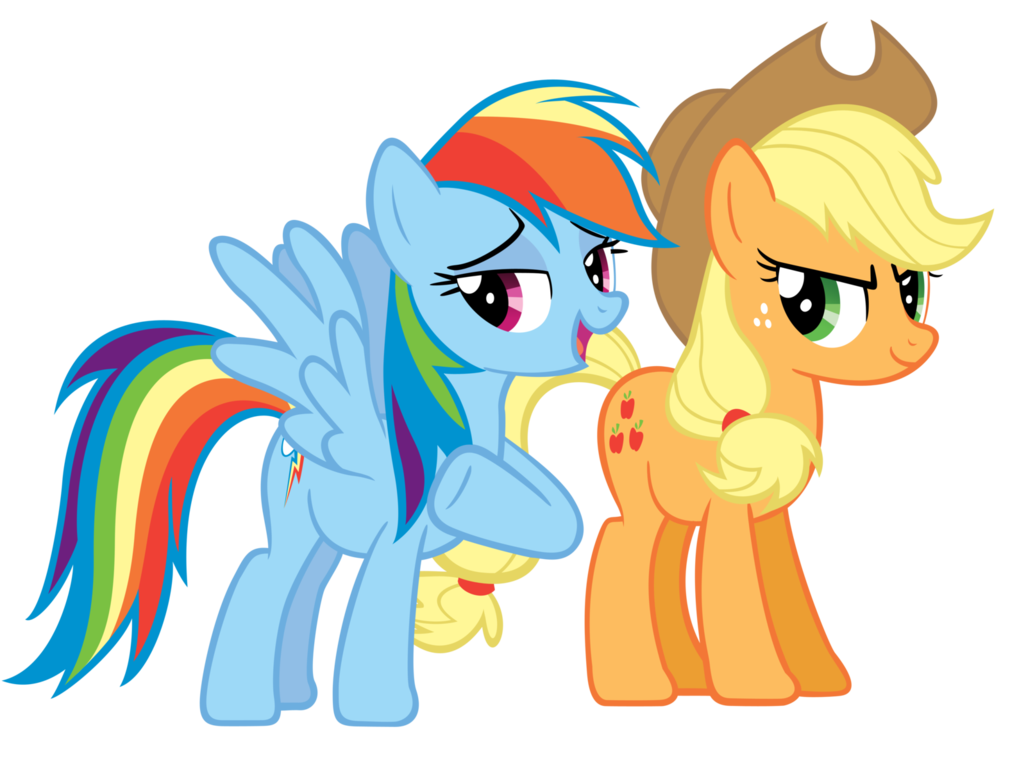 More Applejack and Rainbow by Areyoujealous on