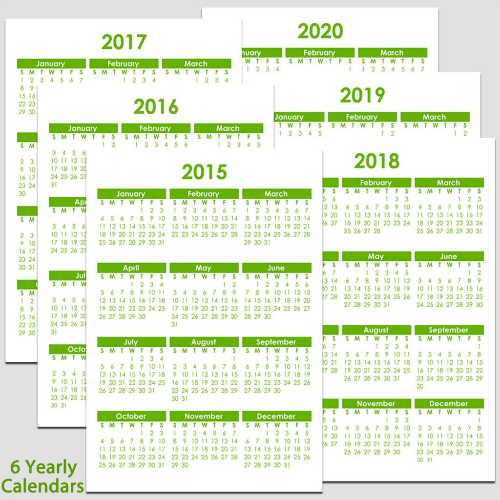 Calendar 2020 And 2016 Printable Printable 2015 to 2020 Yearly Calendar – 8 1/2″ x 11″. The
