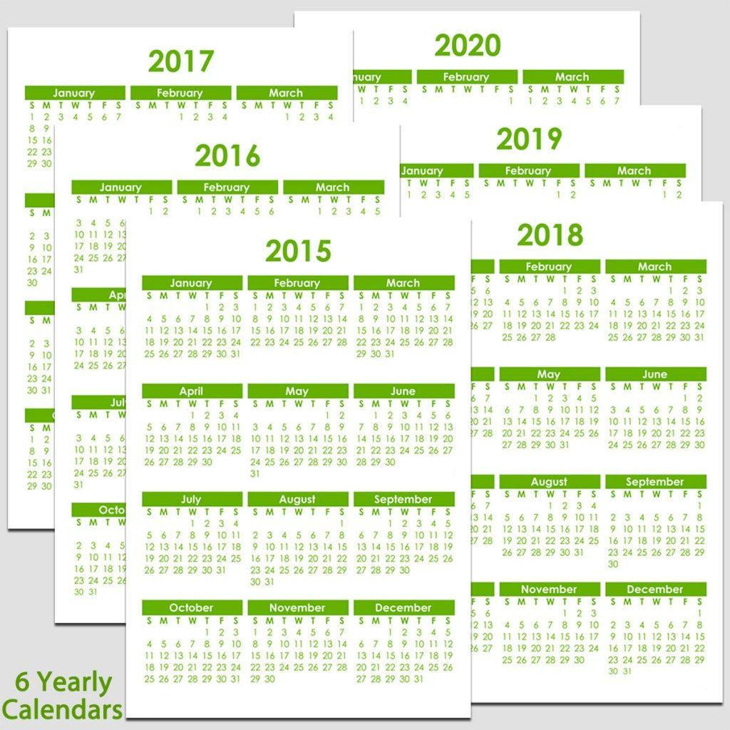 5 year calendar template