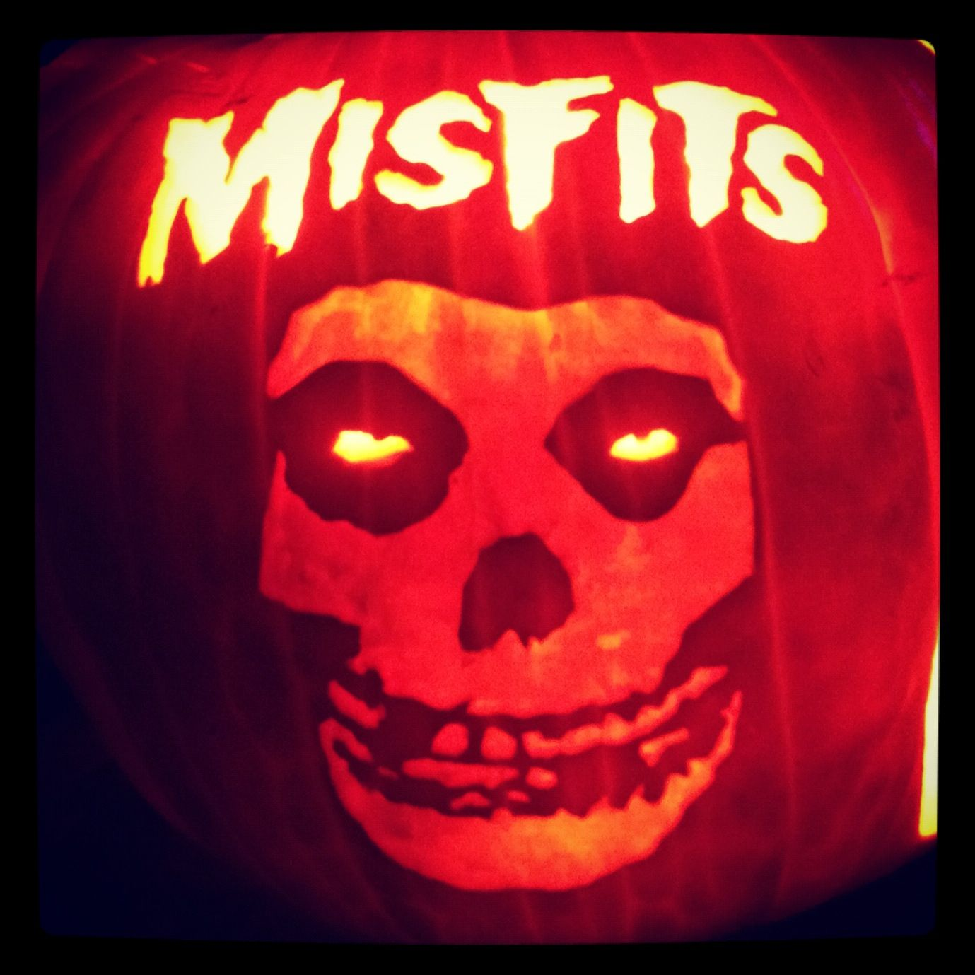 Misfits Carved On A Real Pumpkin We Grew In Our Garden Used A