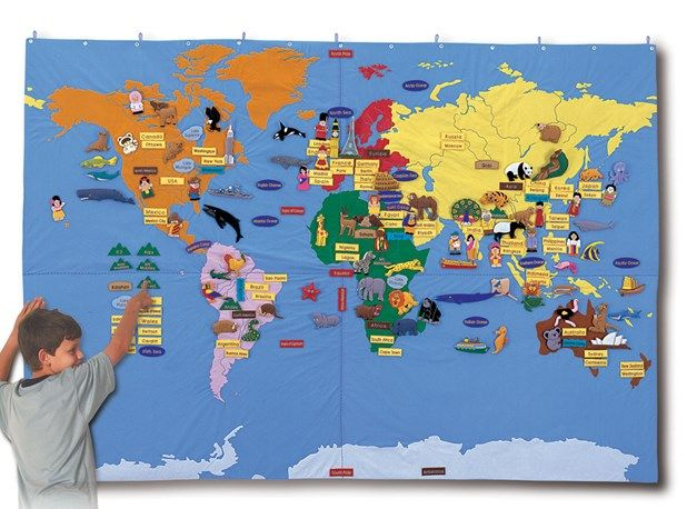 Karta World.Velika Karta Svijeta S Motivima Filc Dim 170x240cm Projects To