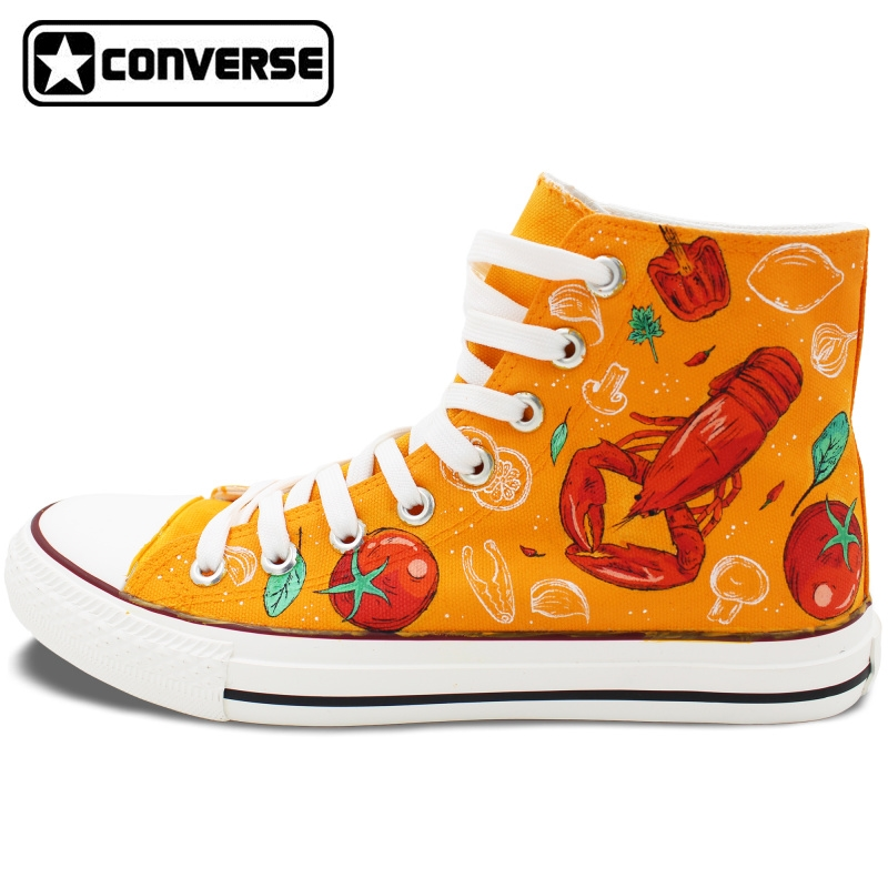 118.15$  Buy here - http://aliihr.worldwells.pw/go.php?t=32786737676 - Hand Painted Shoes Men Women Converse All Star Design Western-style Food Lobster Tomato Pimento Broccoli Canvas Sneakers 118.15$